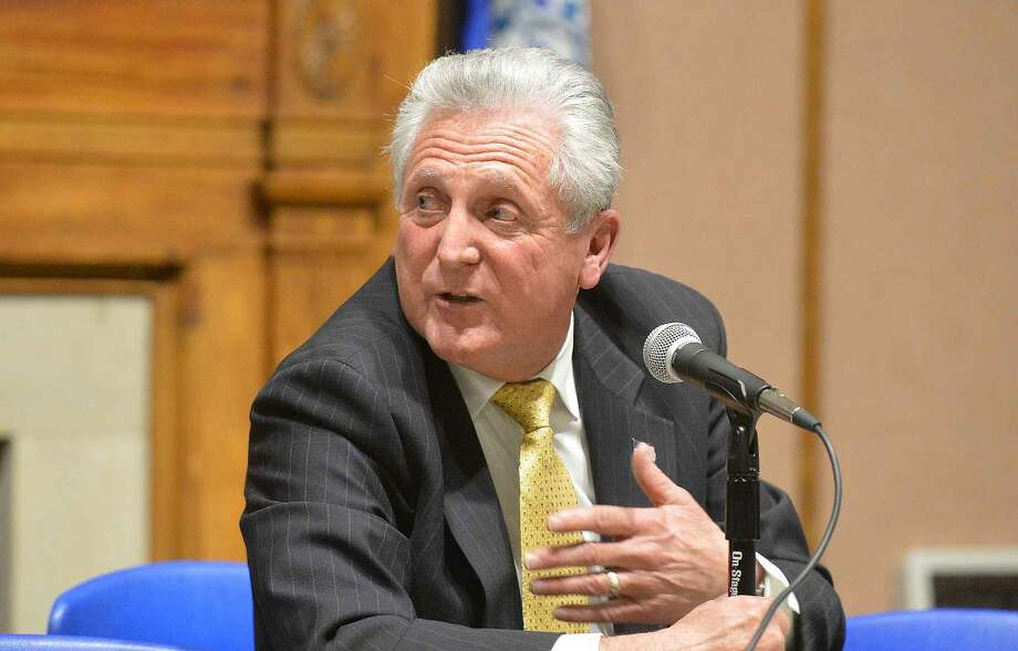 Hour Photo/Alex von Kleydorff Mayor Harry Rilling answers questions from residents during Mayors night out at City Hall on Wednesday night