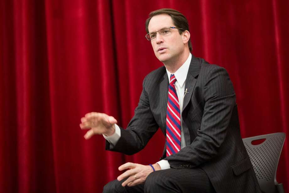 U.S. Rep. Jim Himes discusses some key factors that contributed to his success at an assembly held at Stamford High School Tuesday morning.
