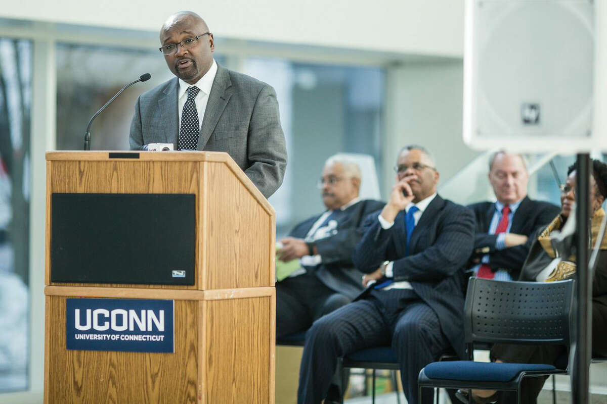 Supreme Court Judge Richard A. Robinson, the only African-American currently on the Connecticut Supreme Court, touches upon his roots in Stamford as he discusses the importance of Black History Month at the University of Connecticut's Stamford campus on Tuesday.