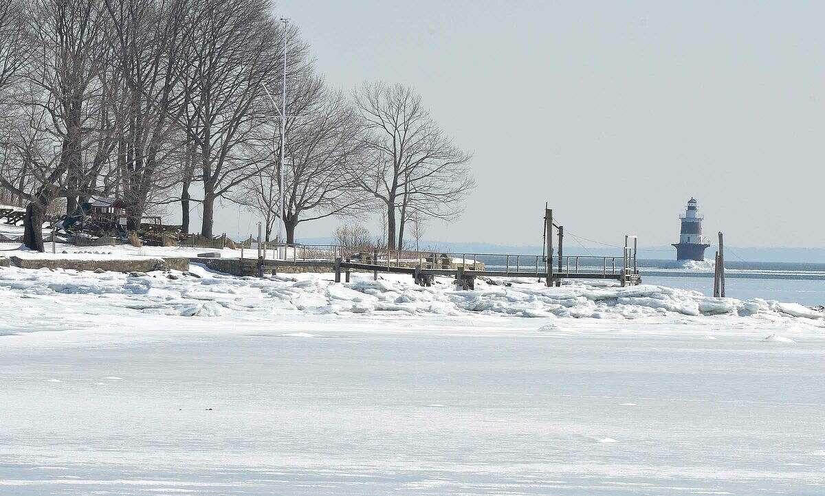 Hour Photo/Alex von Kleydorff Cockenoe Island from the frozen shoreline in Norwalk on Wednesday