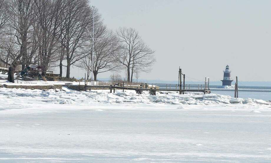 Hour Photo/Alex von Kleydorff Cockenoe Island from the frozen shoreline in Norwalk on Wednesday