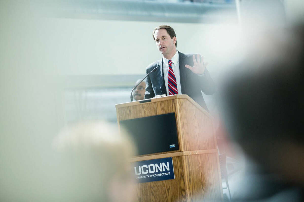 Congressman Jim Himes speaks about the importance of Black History Month and those that have contributed and continue to contribute to civil rights in the United States during an event Tuesday at the University of Connecticut's Stamford campus.
