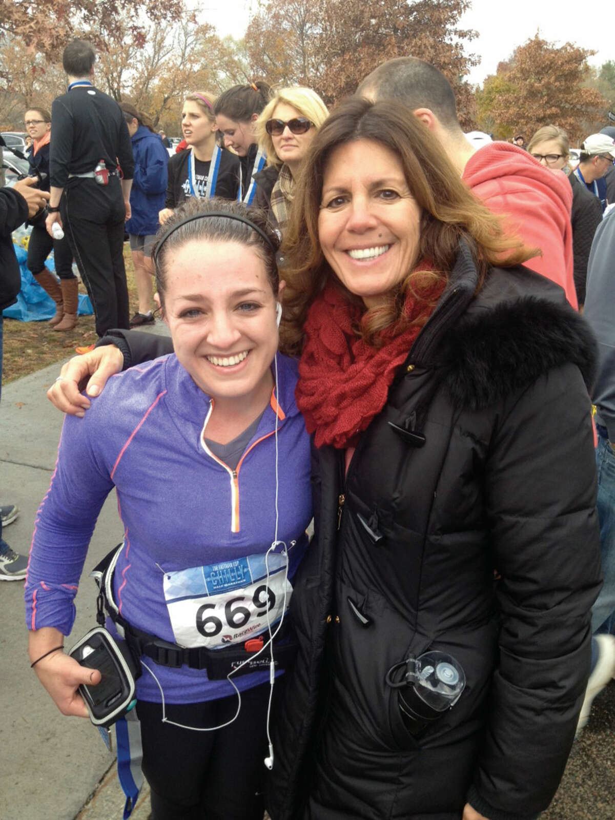 Casey Osgood, a 2010 Wilton High School graduate, plans to run the Boston Marathon to raise money for cancer research. She is pictured here with her mother.