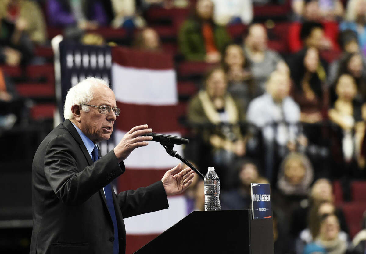 Democratic presidential candidate Bernie Sanders, I-Vt., addresses the crowd during a rally at the Moda Center in Portland, Ore., Friday, March 25 , 2016. (AP Photo/Steve Dykes)