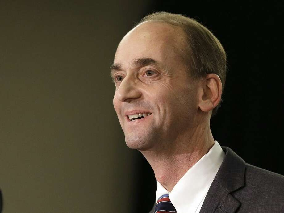 FILE - In this Jan. 28, 2015 file photo, Missouri Republican Auditor Tom Schweich announces his candidacy for governor in St. Louis. Schweich, 54, died Thursday, Feb. 26, 2015, of a self-inflicted gunshot wound, a staff member told The Associated Press. (AP Photo/Jeff Roberson, File)