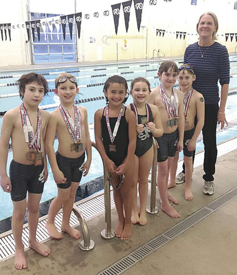 Contributed photoSwim Seventy eight-and-under medalists from this month's state championship meet include, from left, Evan Thilow, Ben Bognon, Addie Sedlak, Edey Cumello, Liam Ireland, and Jared Lessing, along with Coach Betsy Matheney.