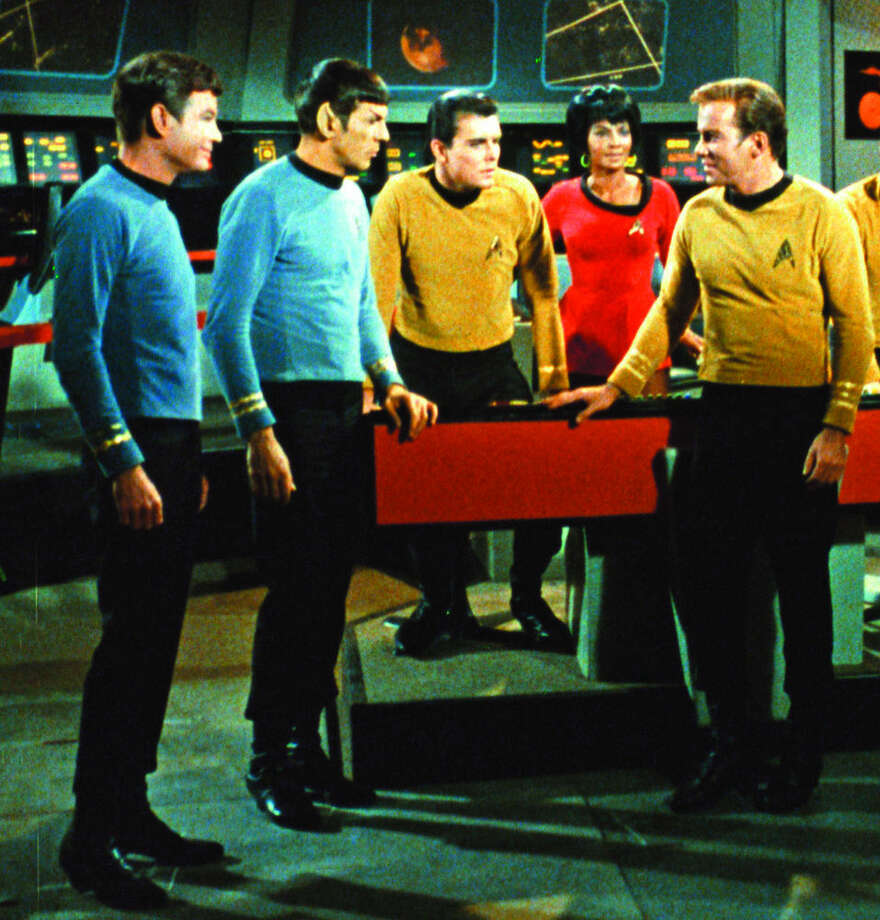"FILE - This undated In this undated file photo released by Paramount Pictures, DeForest Kelley, left, Leonard Nimoy, second left, Nichelle Nichols, second right and William Shatner, right, appear in a scene from the TV series ""Star Trek."" Nimoy, famous for playing officer Mr. Spock in ""Star Trek"" died Friday, Feb. 27, 2015 in Los Angeles of end-stage chronic obstructive pulmonary disease. He was 83. (AP Photo/Paramount Pictures, File)"