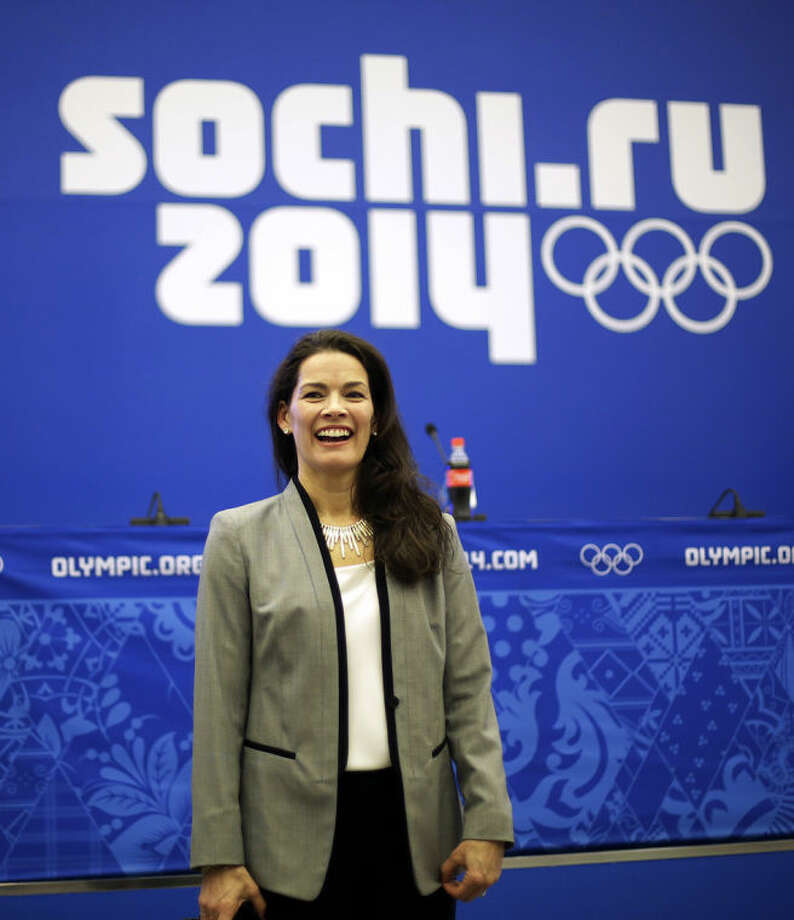 Former Olympic figure skater Nancy Kerrigan speaks after a screening of a new documentary about the 1994 attack on her which will air the day of the 2014 Winter Olympics closing ceremony, Friday, Feb. 21, 2014, in Sochi, Russia. Kerrigan has been reluctant to talk about rival Tony Harding's ex-husband hiring a hit squad to take her out before the 1994 Olympics in Lillehammer. She finally relented for a show that marks the 20-year anniversary of the incident, which thrust figure skating into the spotlight and spawned an international media frenzy. (AP Photo/David Goldman)