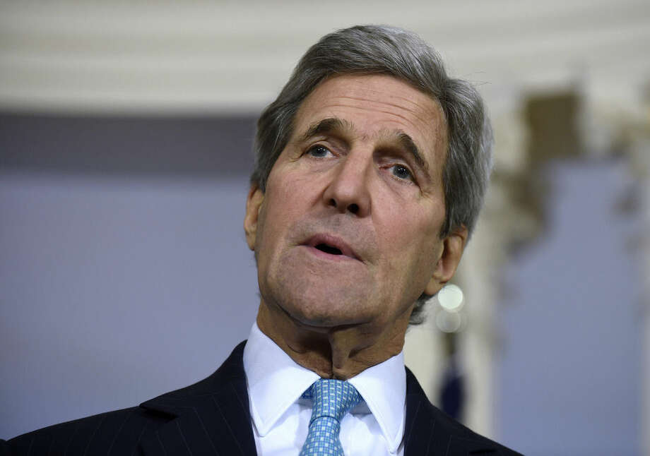 "FIL - In this March 9, 2016, file photo, Secretary of State John Kerry speaks to reporters at the State Department in Washington. The State Department and Pentagon ordered the families of U.S. diplomats and military personnel Tuesday to leave posts in southern Turkey due to ""increased threats from terrorist groups"" in the country. (AP Photo/Susan Walsh, File)"