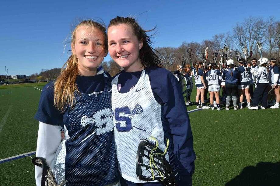 Hour Photo/Alex von Kleydorff L-R Staples Girls Lacrosse Captains Georgia Nicklin and Coleen Bannon