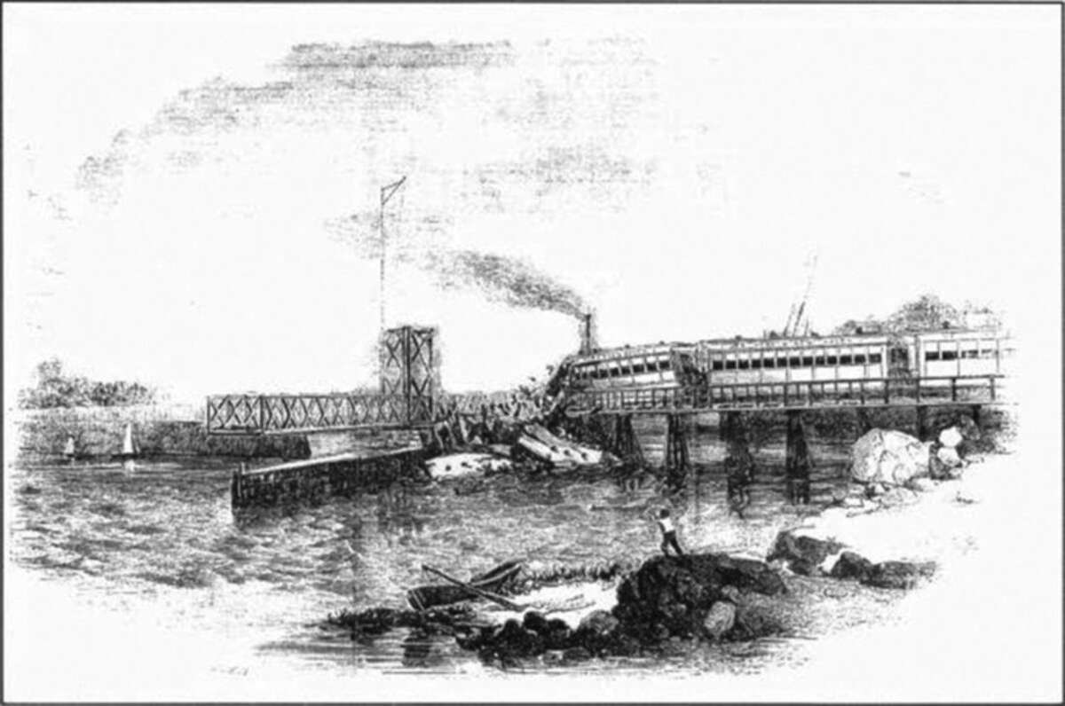 Photo courtesy of Connecticut Historical Society In this May 6, 1853 draw provided by the Connecticut Connecticut Historical Society the engineer of a train bound from Manhattan to Boston failed to note that the drawbridge at South Norwalk was open to let a steamer pass. The train plunged into the river, killing 48 passengers.