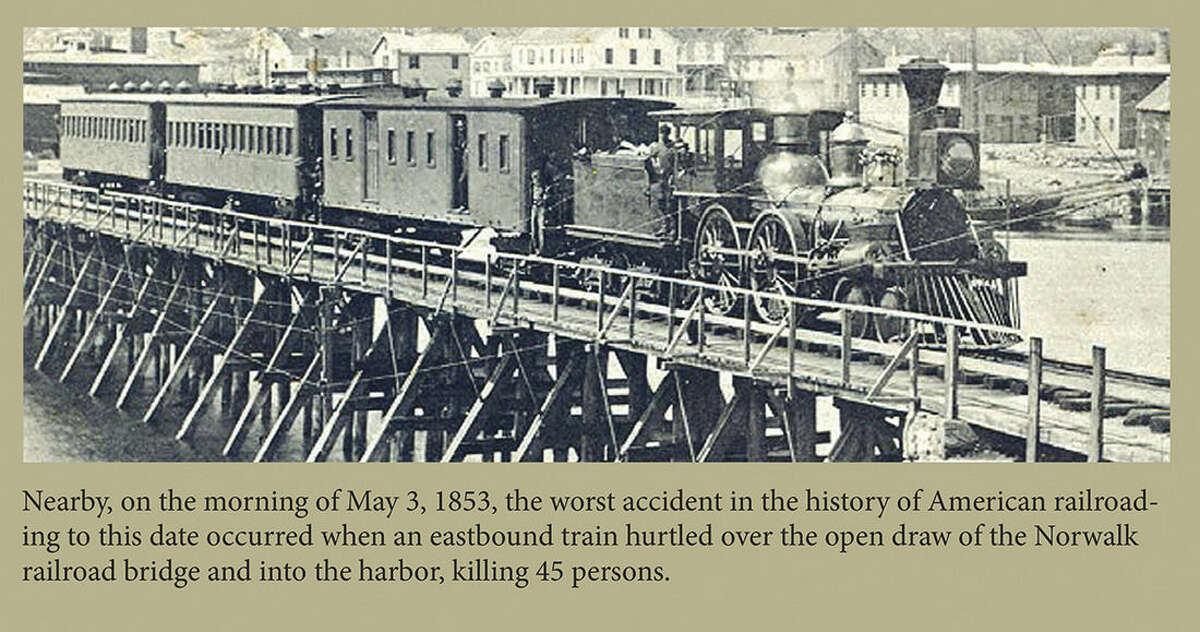 Contributed photo A section of a plaque installed at the boating center in Veteran's Park commemorates the train disaster that occured in Norwalk in 1853 that killed 48 people.
