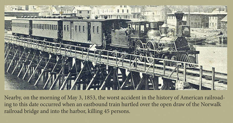 Contributed photoA section of a plaque installed at the boating center in Veteran's Park commemorates the train disaster that occured in Norwalk in 1853 that killed 48 people.
