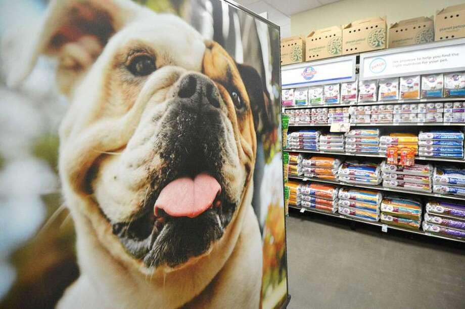 Hour Photo/Alex von Kleydorff . A large photo of a Bulldog graces the dog food area at the new Petco in Norwalk