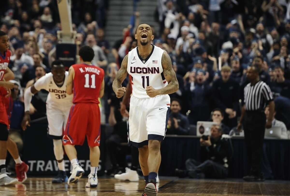 Connecticut's Ryan Boatright reacts during the first half of an NCAA college basketball game against SMU, Sunday, March 1, 2015, in Hartford, Conn. (AP Photo/Jessica Hill)