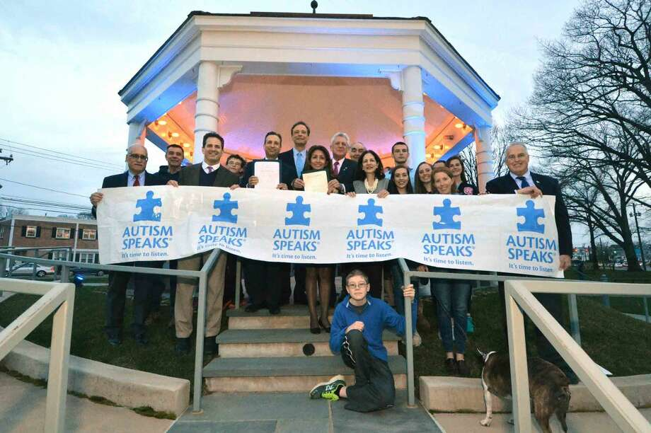Hour Photo/Alex von Kleydorff Kick off for Autism Awareness Month in the Town Green gazebo, lighted blue