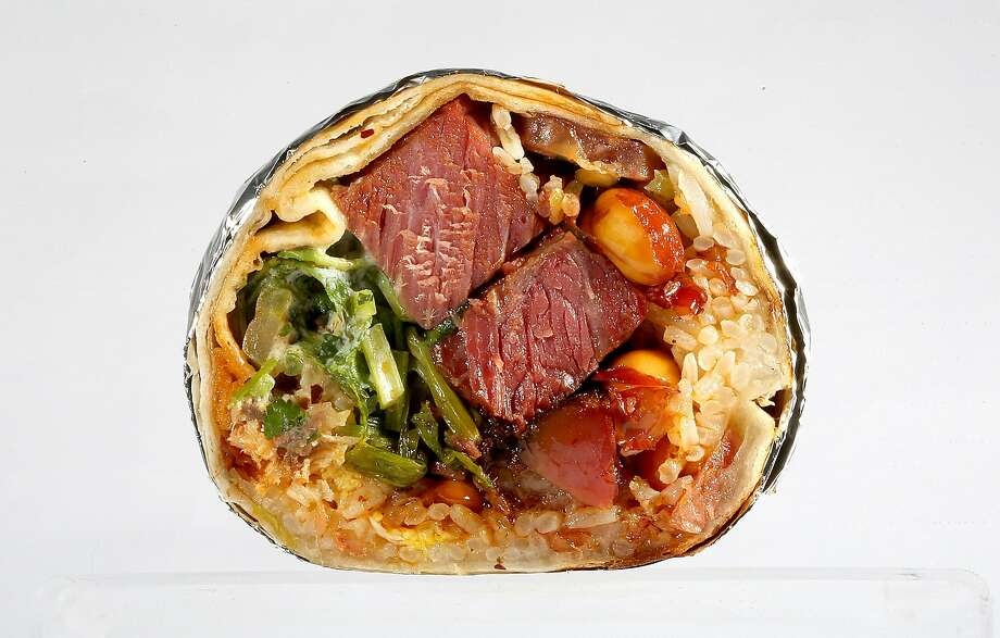 Mission Chinese Food's kung pao pastrami burrito. Photo: Liz Hafalia, The Chronicle