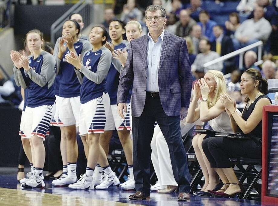 "AP photoUConn women's basketball head coach Geno Auriemma watches during the first half of Saturday's game against Mississippi State in the regional semifinals of the NCAA Tournament in Bridgeport. Auriemma was left defending his program once again on Sunday when sports writer Dan Shaughnessy tweeted that UConn was ""killing the women's game."""