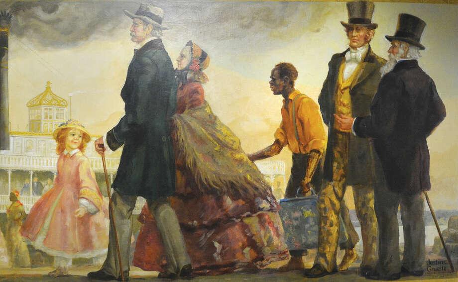 "Hour Photo/Alex von Kleydorff Detail of City Hall Mural 'Steamboat days on the Mississippi"""