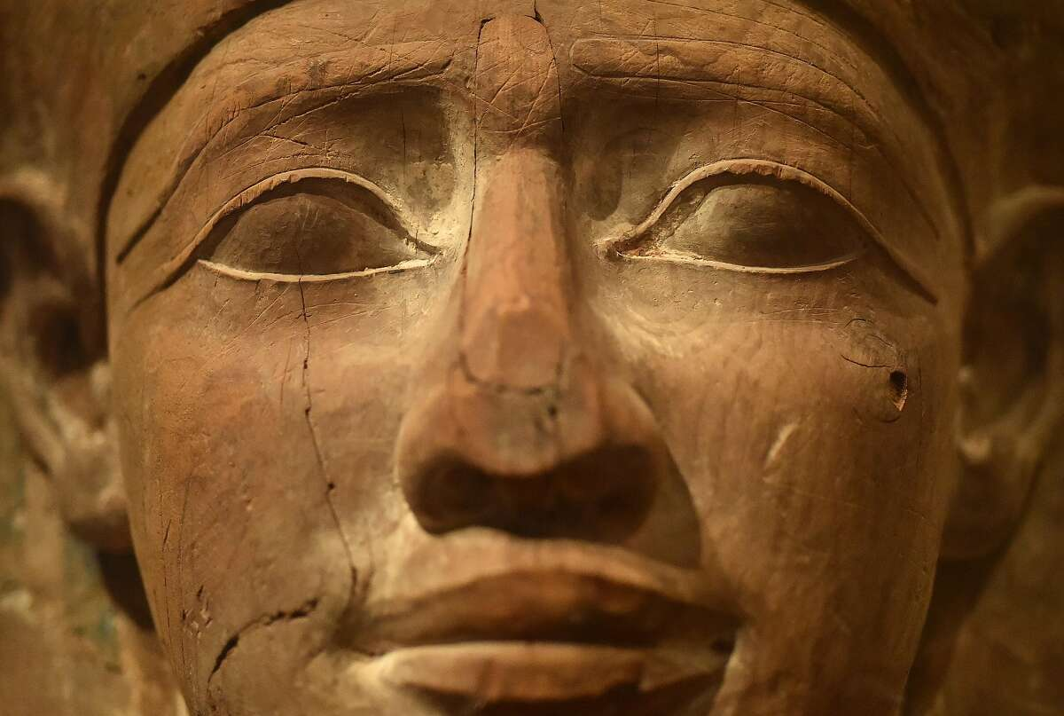 """A close-up view of the coffin that houses the Mummy of """"Hatason"""" is seen as part of The Futures of the Past exhibit at the Legion of Honor in San Francisco on June 10, 2016. The exhibit features two preserved mummies and a virtual dissection table."""
