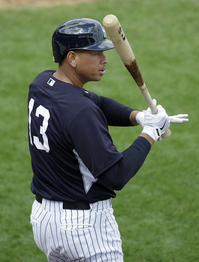 New York Yankees' Alex Rodriguez warms up before batting in an intrasquad game during a spring training baseball workout, Monday, March 2, 2015, in Tampa, Fla. (AP Photo/Lynne Sladky)