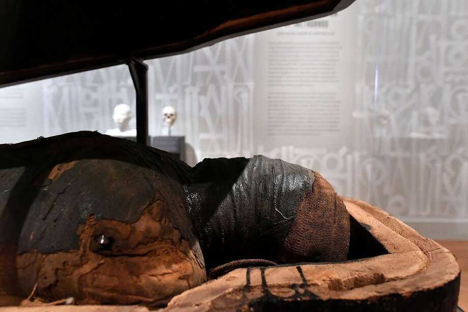 The mummy of Irethorrou, 3,000 years old, is of a powerful Egyptian priest who specialized in funeral rituals, was responsible for the statue of fertility god Min. Photo: Josh Edelson, JOSH EDELSON / SAN FRANCISCO CHRONICLE