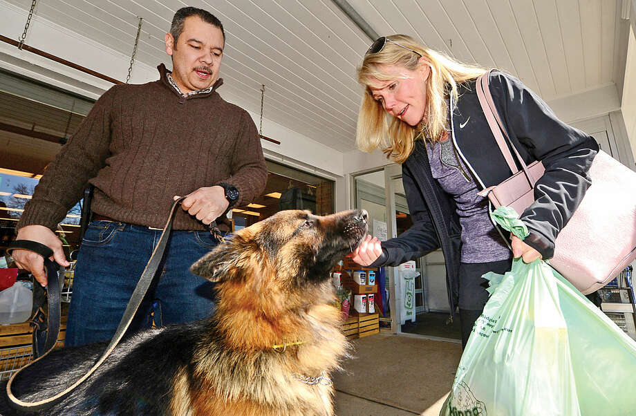 Edwin Gonzalez with Passion Works Rescue, a faith-based rescue that saves German shepherd dogs from high-kill shelters, introduces Kingsley to Wilton resident Sue Bottini during an adoption event at Village Market Wednesday.