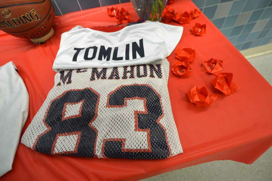 "Hour Photo/Alex von KleydorffA memorial at Brien McMahon High School for Maurice ""Mo"" Tomlin Wednesday at the school."