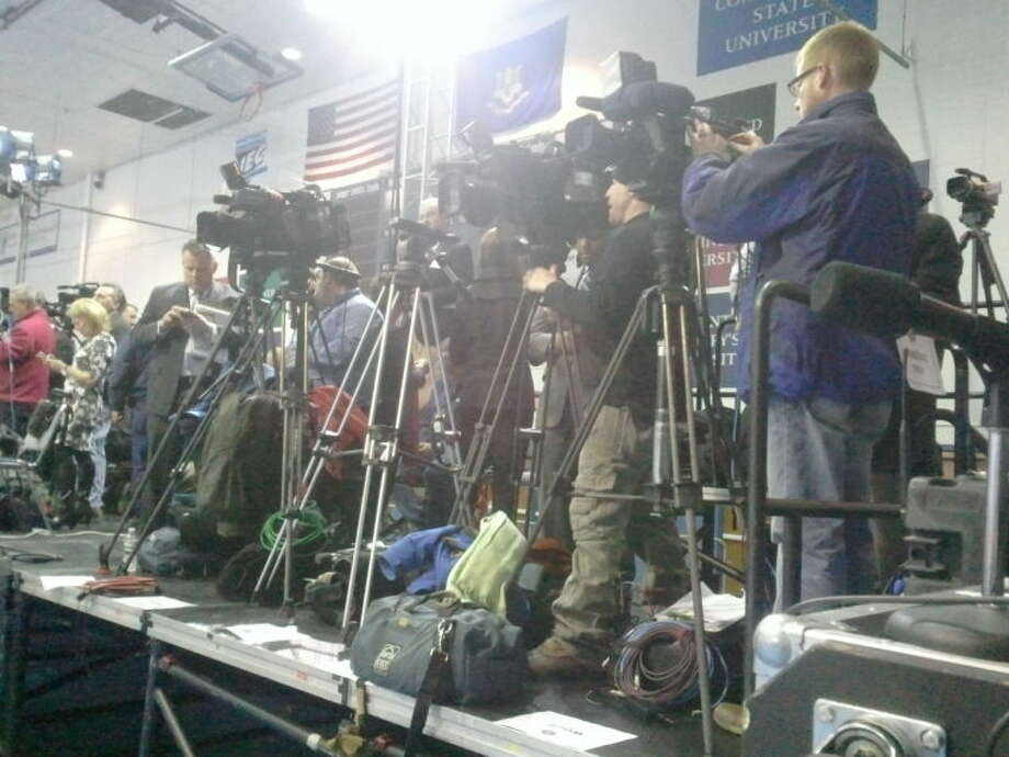 The media gets ready to cover President Obama at Central Connecticut State University.