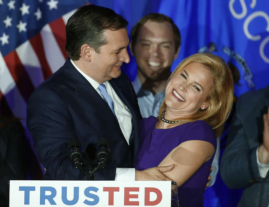 Republican presidential candidate Sen. Ted Cruz, R-Texas, hugs his wife Heidi, during a primary night campaign event, Tuesday, April 5, 2016, in Milwaukee. (AP Photo/Paul Sancya)