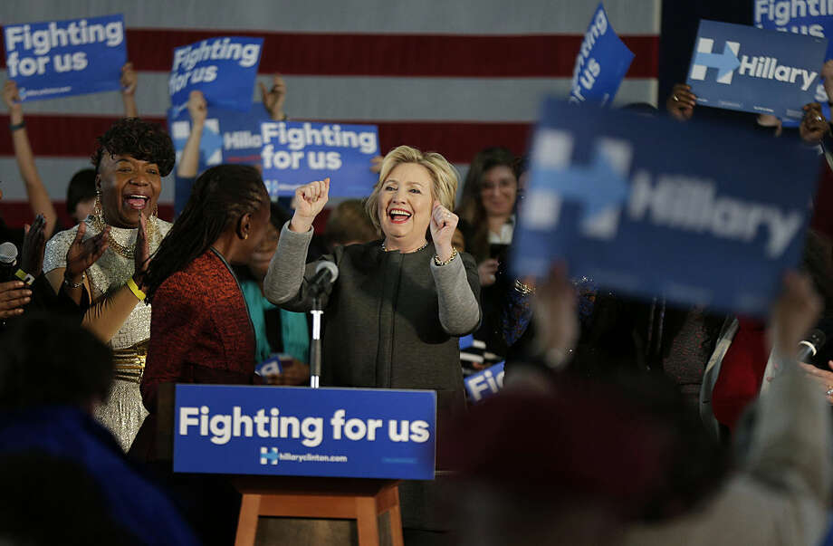 Democratic presidential candidate Hillary Clinton reacts as she is introduced to a crowd during a campaign stop, Tuesday, April 5, 2016, in New York. (AP Photo/Julie Jacobson)