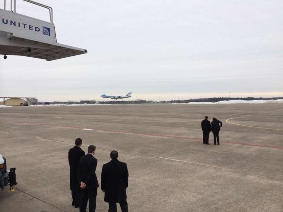 Air Force One touches down in Connecticut