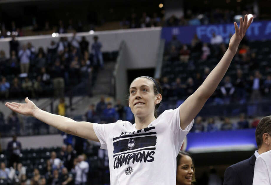 Connecticut's Breanna Stewart celebrates after Connecticut's 82-51 victory over Syracuse in the championship game at the women's Final Four in the NCAA college basketball tournament Tuesday, April 5, 2016, in Indianapolis. (AP Photo/AJ Mast)