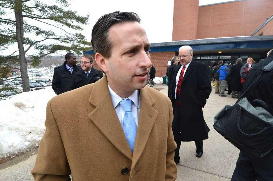 Hour Photo/Alex von Kleydorff. Bob Duff on his way in to see President Obama speak