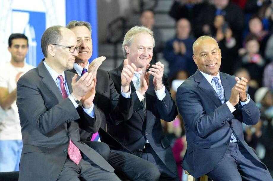 Hour Photo/Alex von Kleydorff. U.S. Labor Secretary Thomas Perez, Vermont Governor Peter Shumlin, Rhode Island Governor Lincoln Chafee and Deval Patrick, Governor of Massachusetts