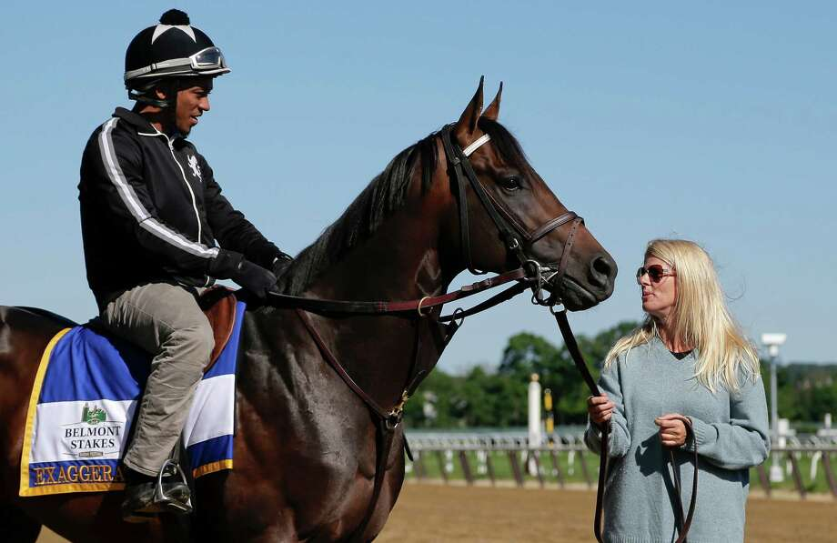 Assistant trainer Julie Clark, right, talks to exercise rider Jermal Landry before taking Belmont Stakes hopeful and Preakness Stakes winner, Exaggerator, out to gallop around the main track at Belmont Park, Friday, June 10, 2016, in Elmont, N.Y. Exaggerator will compete in the 148th running of the Belmont Stakes Horse Race on Saturday. (AP Photo/Julie Jacobson) Photo: Julie Jacobson, STF / Copyright 2016 The Associated Press. All rights reserved. This material may not be published, broadcast, rewritten or redistribu