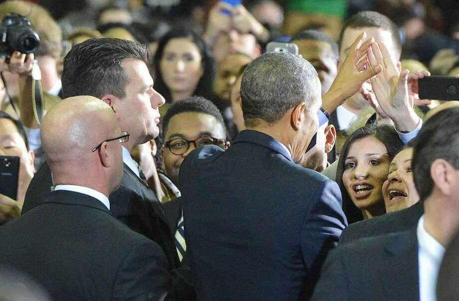 Hour Photo/Alex von Kleydorff Eloisa Melendez Norwalk District A Councilwoman gets up close with the President