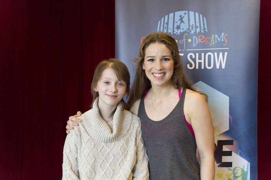 "Rana Faure/MSG Photo Services via APIn this March 17, released by Madison Square Garden, 13-year-old brain cancer survivor Hannah Pienkowski, left, poses with Chilina Kennedy, who plays Carole King on Broadway in ""Beautiful: The Carole King Musical"" in New York."