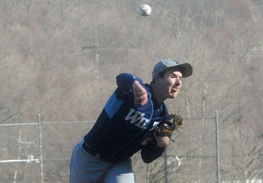 Ben Rusin, Wilton starting pitcher against Brookfield. Hour photo/Matthew Vinci
