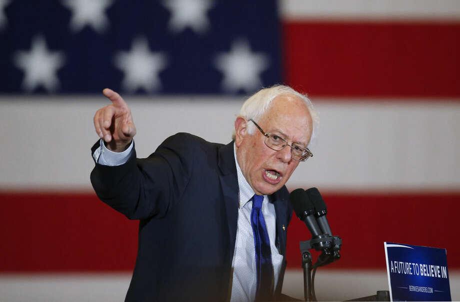 Democratic presidential candidate Sen. Bernie Sanders, I-Vt., speaks during a campaign event, Monday, April 4, 2016, in Milwaukee. (AP Photo/Paul Sancya)