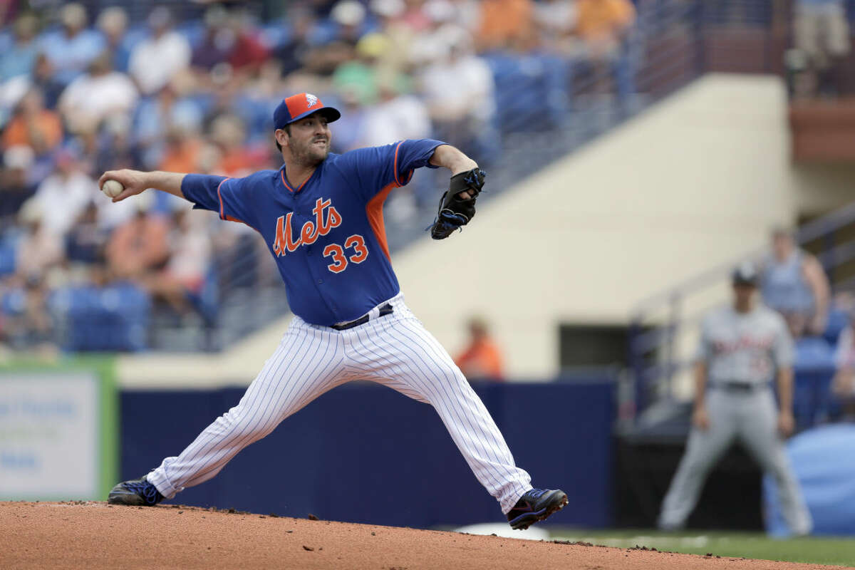 New York Mets starting pitcher Matt Harvey throws during the first inning an exhibition spring training baseball game against the Detroit Tigers Friday, March 6, 2015, in Port St. Lucie, Fla. (AP Photo/Jeff Roberson)