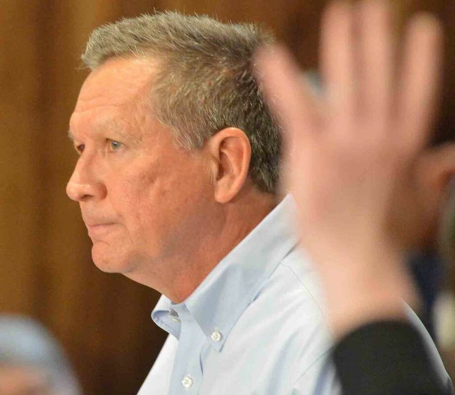 Hour Photo/Alex von Kleydorff Republican Presidential candidate John Kasich speaks during a Town Hall Meeting at Sacred Heart University in Fairfield Conn. on Friday