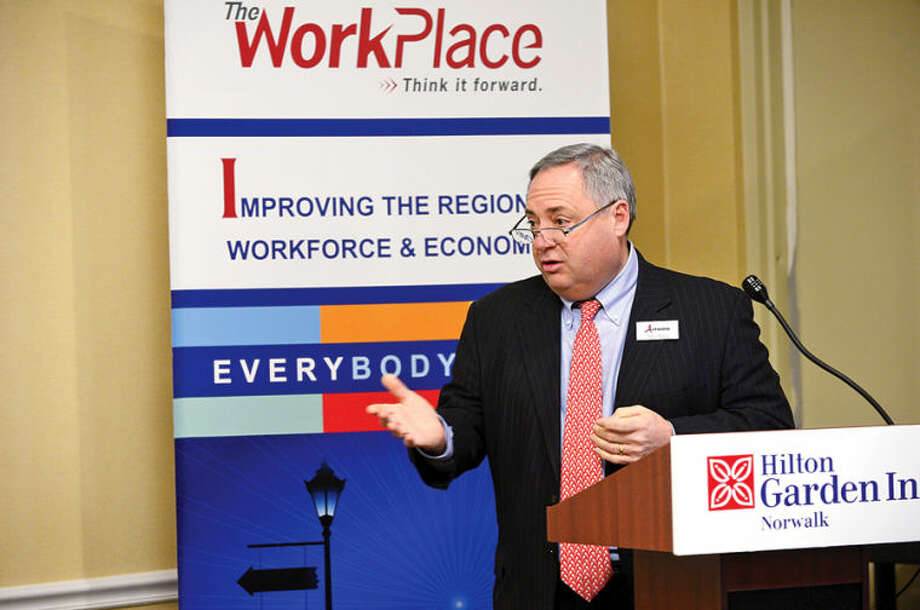 Hour photo / Erik Trautmann Tony Aitoro moderates a panel of experts during the second of Workplace Inc.'s Workforce Forum Series, Retail and Hospitality, at the Hilton Garden Inn Thursday morning.