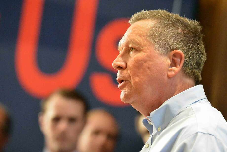 Hour Photo/Alex von Kleydorff Republican Presidential candidate John Kasich speaks during a Town Hall Metting at Sacred Heart University in Fairfield Conn. on Friday