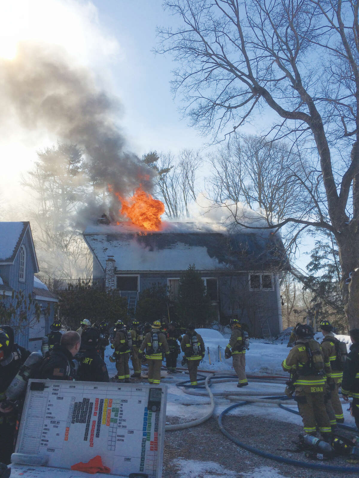 Fire tore through an unoccupied home at 266 Range Road on Saturday. There were no injuries reported.