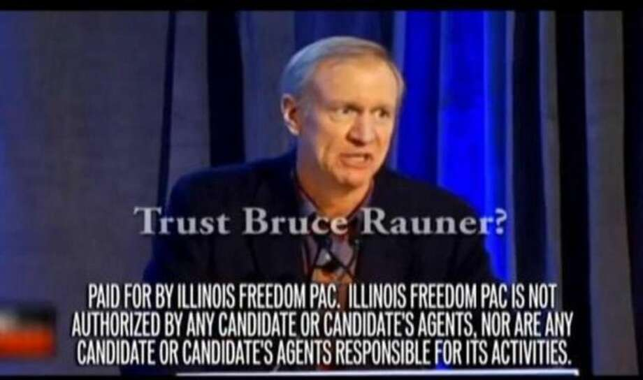 This undated frame grab from a television ad provided by the Illinois Freedom PAC shows a political ad criticizing venture capitalist Bruce Rauner, a candidate for the Republican nomination for Illinois governor. Labor unions, which funded the ad, have taken an unprecedented role in the March 18 Republican primary. (AP Photo/Courtesy of the Illinois Freedom PAC)