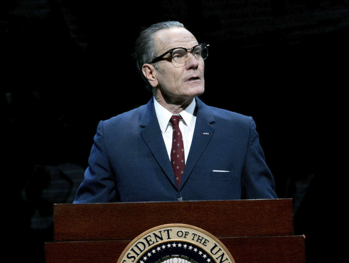 This image released by Jeffrey Richards Associates shows Bryan Cranston portraying President Lyndon B. Johnson during a performance of