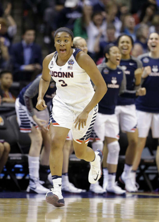Connecticut's Morgan Tuck (3) shouts during the second half of a national semifinal game against Oregon State, at the women's Final Four in the NCAA college basketball tournament Sunday, April 3, 2016, in Indianapolis. (AP Photo/Michael Conroy)