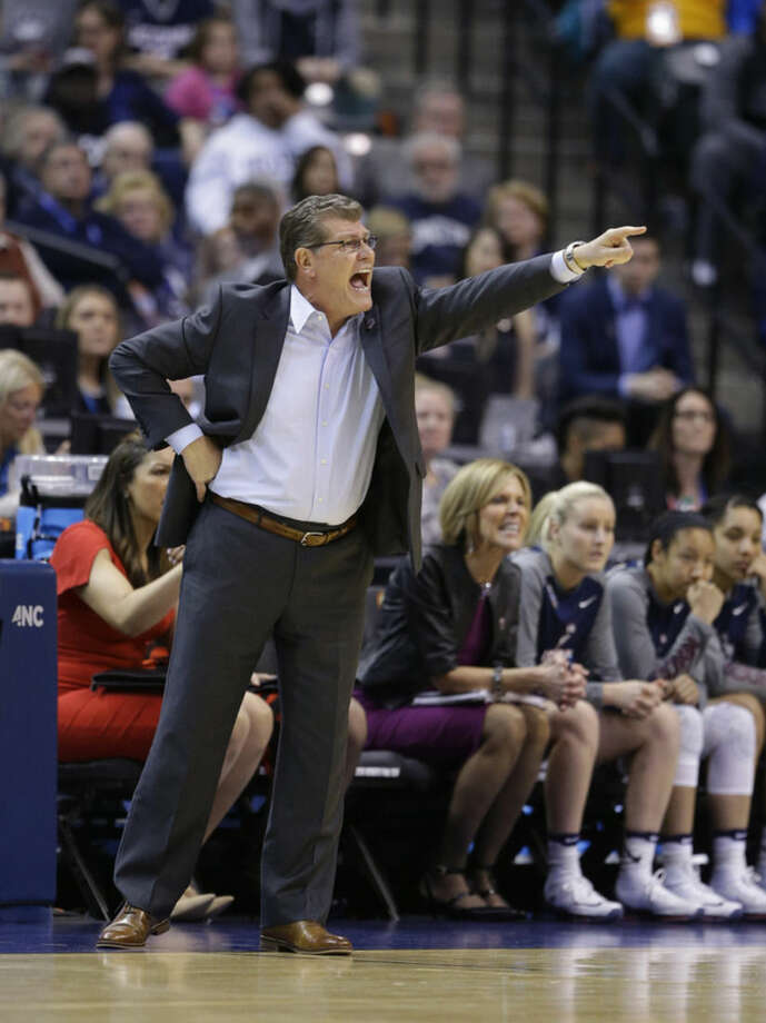 Connecticut head coach Geno Auriemma yells during the first half of a national semifinal game against Oregon State at the women's Final Four in the NCAA college basketball tournament Sunday, April 3, 2016, in Indianapolis. (AP Photo/Michael Conroy)
