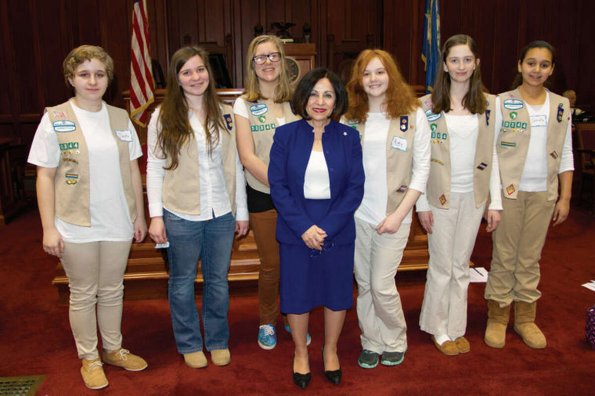 State Sen. Toni Boucher stands with Girl Scouts from Ridgefield in the Senate Chamber to celebrate Girl Scout Day at the Capitol in Hartford.